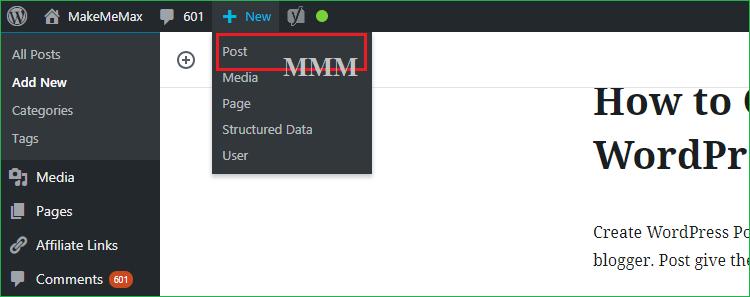 Create New WordPress Post
