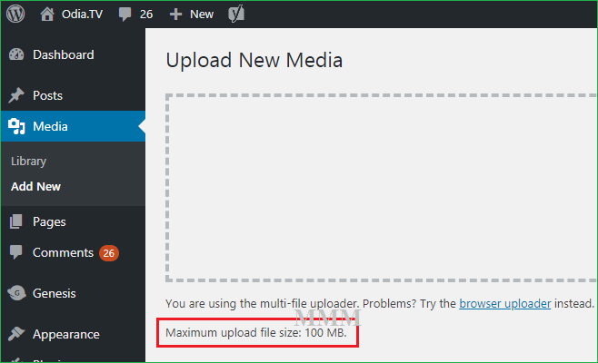 maximum file upload size 100 MB