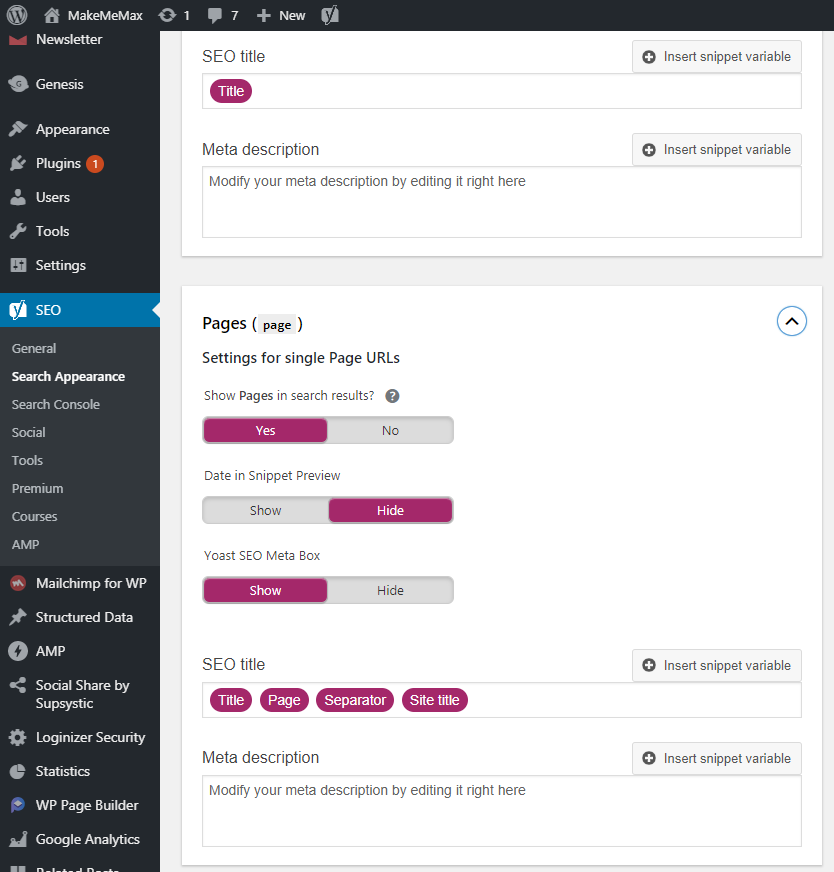 Yoast Page Configuration