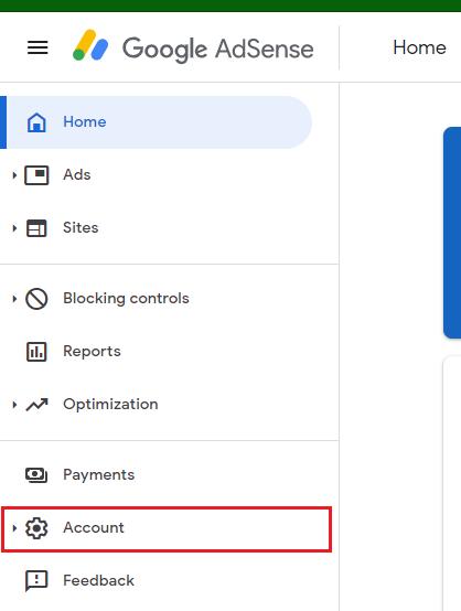 google adsense dashboard to account