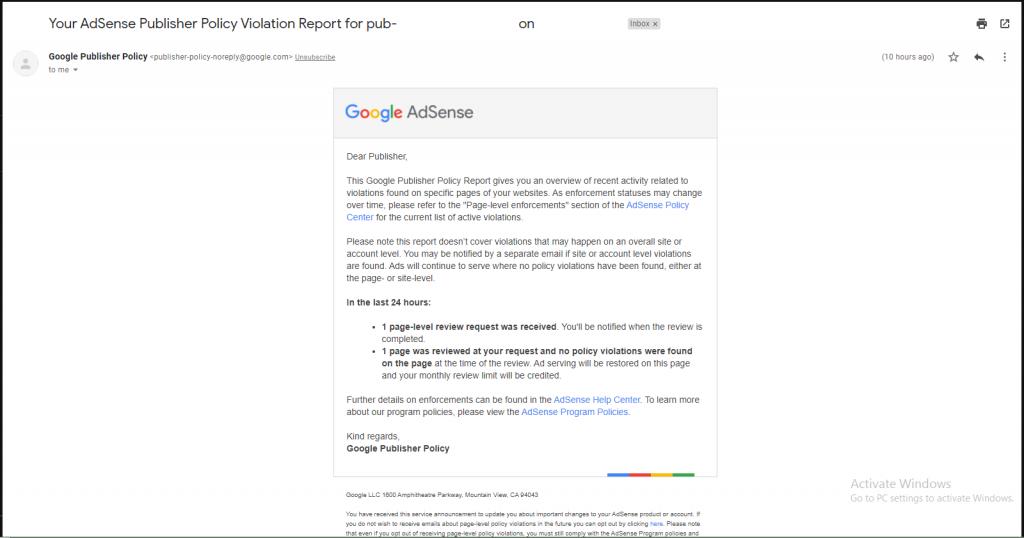 google adsense publisher policy violation not found gmail