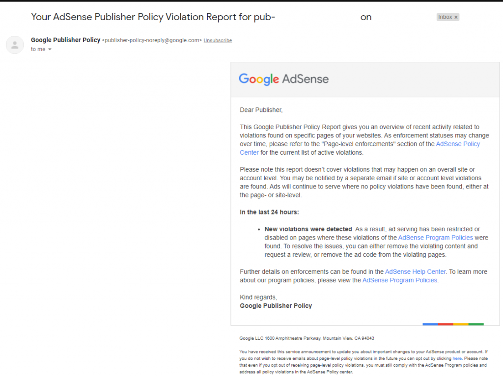 google adsense publisher policy violation problem gmail